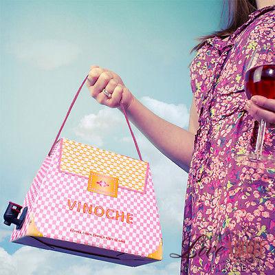 Розовая сумка-коробка для вина