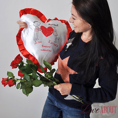 Подушка в виде сердца с именами и надписью «Вместе навсегда»