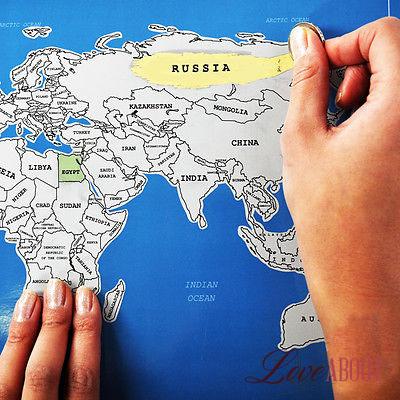 Карта мира со стирающимся скретч — слоем